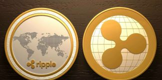 Ripple Coin next to World Map